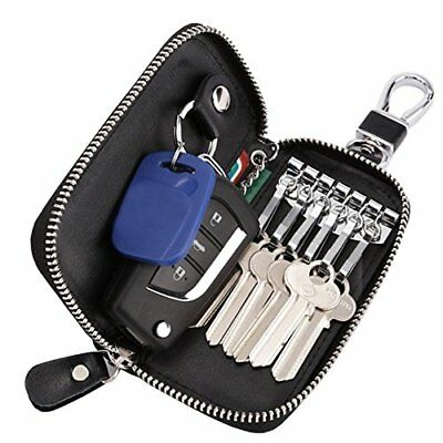 Key Car Holder Leather Case Bag Wallet Chain 6 Hook Keychain Pouch for Men Zip