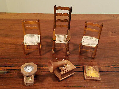 Vintage Set of 6 Various Doll House Furniture And Accessories