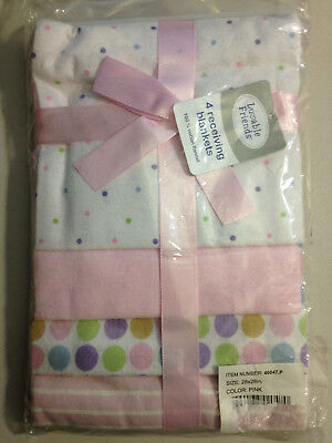 Luvable Friends 4-Pack Flannel Receiving Blankets, Pink,28 x 28, New