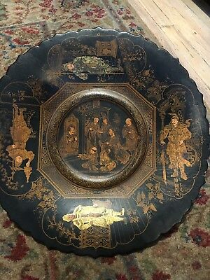 Signed 19Th Century Antique Japanese Paper Mache Painted Lacquer Wooden Plate