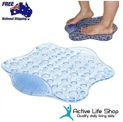 Shower Bath Rubber Mat FOOT SOLE CLEANER Brush Anti-Slip Suction MASSAGING pads