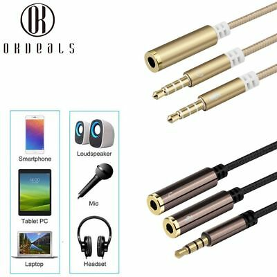 3.5mm*AUX Audio Mic Splitter Cable Earphone Headphone Adapter 1 Male To 2 Female