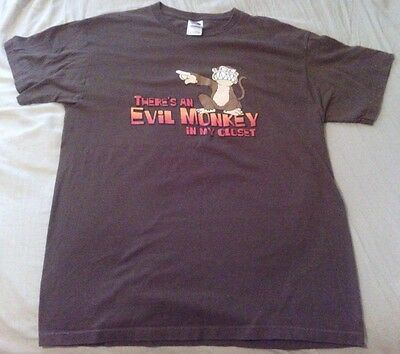 "FAMILY GUY ""There's An Evil Monkey In My Closet"" Brown T-Shirt Large L"