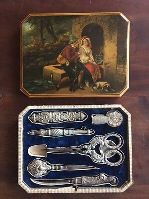 Antique sewing kit - 7 silver tools in original wooden box