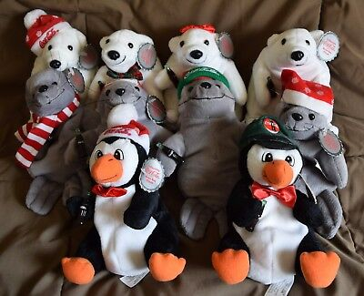 """LOT OF 10 COCA COLA Holiday 7"""" Plush Bears, Seals & Penguins - New with Tags"""
