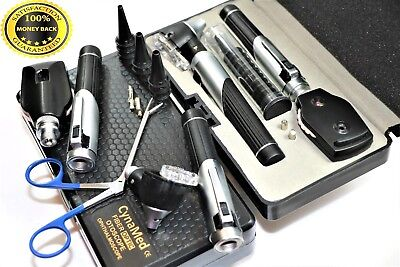 Incredible Premium LED Diagnostic Set Otoscope Ophthalmoscope Fiber Optic+Forcep