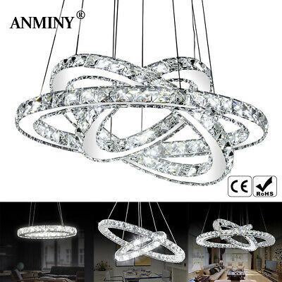 LED Crystal Ring Pendant Light Chandelier Lamp Ceiling Fixture + Remote or Not