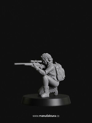 Sniper Girl 28mm Resin Miniature - Strife Series 02b - For Warhammer Fallout