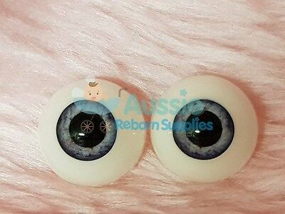 Reborn Baby Round Acrylic Eyes 20mm Blue Grey Large Pupil Doll Making Supplies