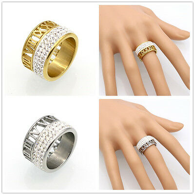 Roman Numeral Rings Personalized stainless steel rings with crystal zircons ring