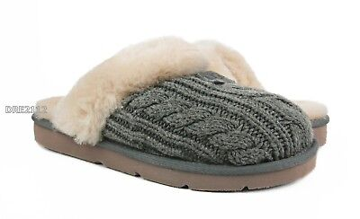 21b0a777dd09 UGG Australia Cozy Knit Cable Heather Grey Fur Slippers Womens Size 7 *NEW*