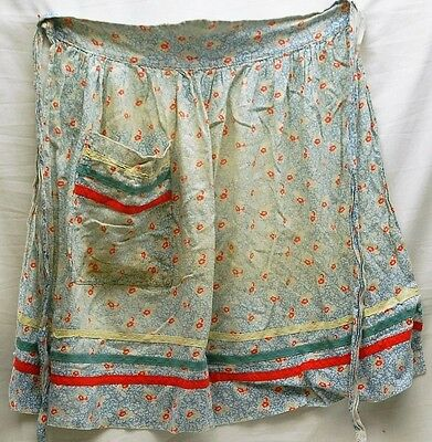Old Vintage Hand Made Half Apron Blue & White w Red Flower Designs One Pocket