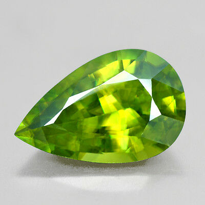 9.14 Cts Natural Top Sphene Madagascar Rare Color Pear Cut if Gem japan quality