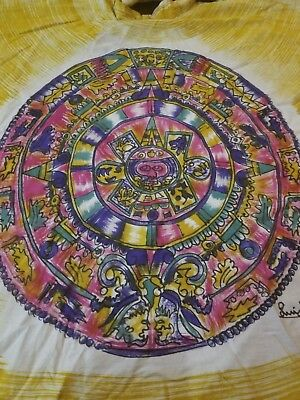 true Vintage handpainted Mexican souvenir skirt, full circle 1950s Mayan style
