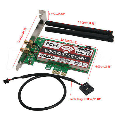 Bluetooth4.0 2.4G/5G PCI-e Network Wireless Lan Card Wlan WiFi 300Mbps For PC AU