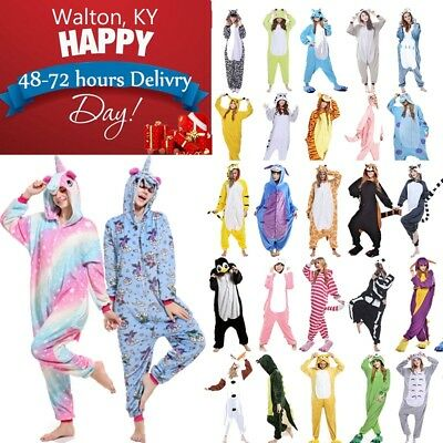 Unisex Onsie Costume Adult Animal Cosplay Pajamas Costume Sleepwear Jumpsuit USA