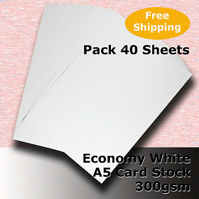 40 x WHITE A5 Size 300gsm Economy Card Stock General Purpose #H5505 #DLHH