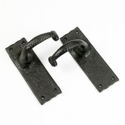 Black Period Cast Iron Blacksmith Mortice Door Handle - Supplied With Spindles