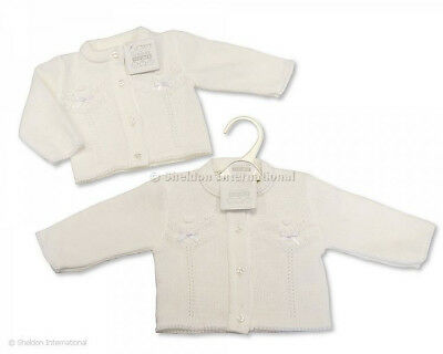 Baby Girl Spanish style cardigan knitted White ribbon bows Newborn -24 months