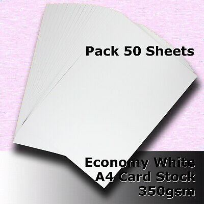 50 Sheets Economy Card Stock WHITE A4 Size 350gsm #H5608