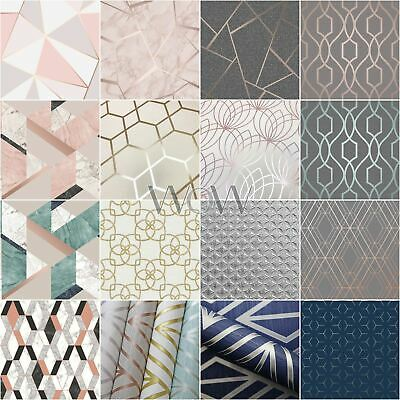 Geometric Wallpaper - Metallic Textured Smooth - Diamonds Triangles Flowers
