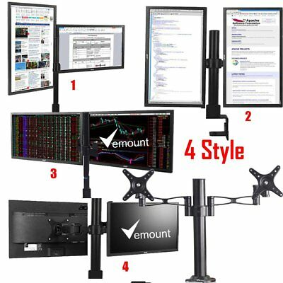 "10-27"" Double Monitor Dual Screen Stand Arm Desk Mount Computer TV Bracket UK"