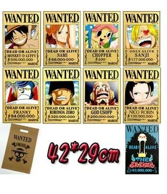 9 One Piece Straw Hat Pirates Wanted Anime Poster NEW A3 Size FULL TEAM