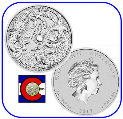 2017 Australian Dragon & Phoenix 1 oz Silver Coin, from Perth Mint in Australia
