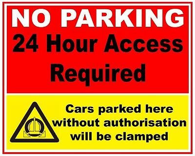 Large NO PARKING CLAMPING Signs 610 x 460mm Choice of Designs 4mm Correx Boards