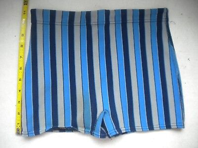 Mens Vintage Mod Blue Swimsuit Vertical Stripes Polyester Small