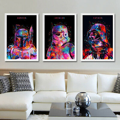 Star Wars Movie Canvas Poster Art Print Darth Vader Stormtrooper Master Poster