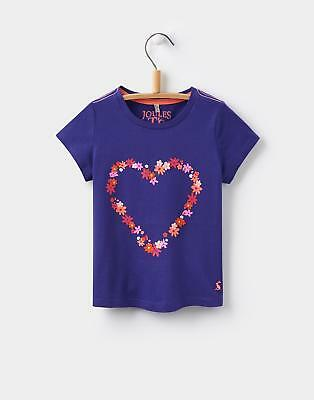 Joules Girls Maggie T-Shirt in Machine Washable Cotton in Pool Blue Heart
