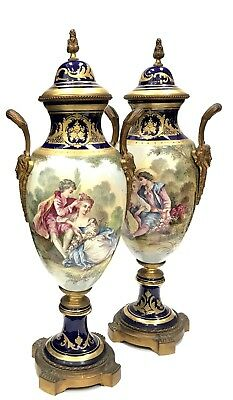 Pair of Antique SEVRES Hand Decorated Bronze Inserts Porcelain Vases