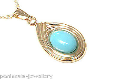 """9ct Gold Turquoise Pendant and 18"""" Chain Made in UK Gift Boxed"""