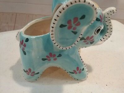 Vintage Grantcrest  Japan Ceramic Colorful Baby Elephant Planter Blue