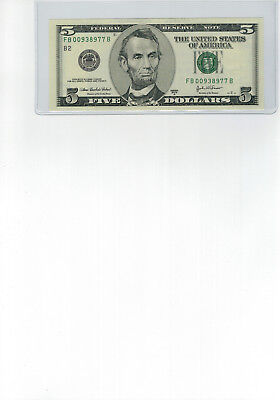 $5.00 Federal Reserve Note, 2003 A, FB 00938977 B, Beautiful Note