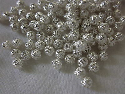 100 Silver Coloured 4mm Filigree Spacer Beads #sp2706
