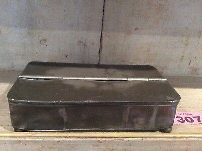 ANTIQUE PEWTER INKWELL Hinged Lidded Box HOLDS 4 QUILLS TWO INK POTS