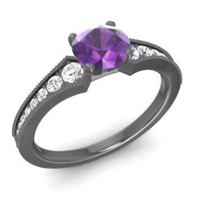 14k Black Gold Solitiare Natural Amethyst + Diamond Vintage Engagement Ring
