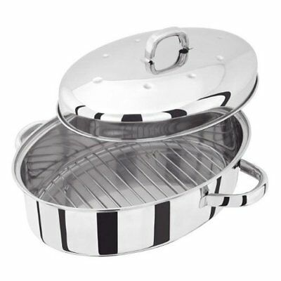 Judge High Oval Roaster with Self Basting Lid 36 x 26cm, Silver