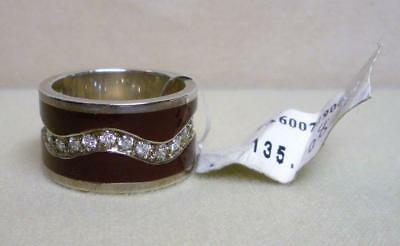 Signd Erwin Pearl Sterling Silver .925 & Cz Red Enamel Ring Size 8 New Msrp $125