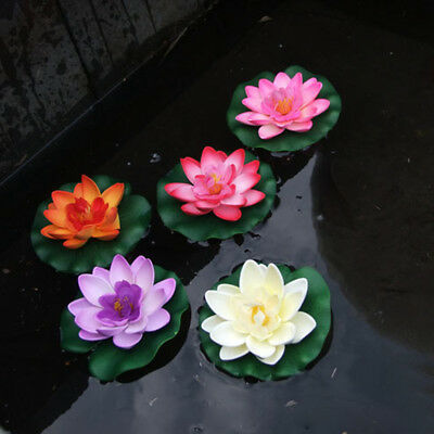 Artificial Fake Lotus Water Lily Floating Flower Garden Pool Plant Chic Ornament