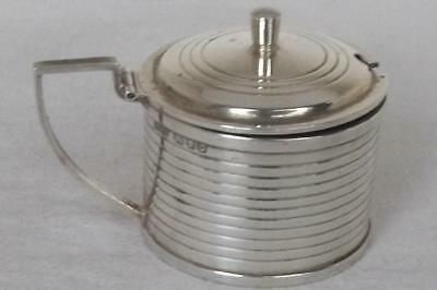 A Fine Solid Sterling Silver Mustard Pot With Glass Liner London 1949.