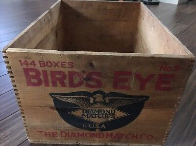 Antique Bird's Eye Diamond Match Co Finger Jointed Wooden Crate, Stamped Graphic