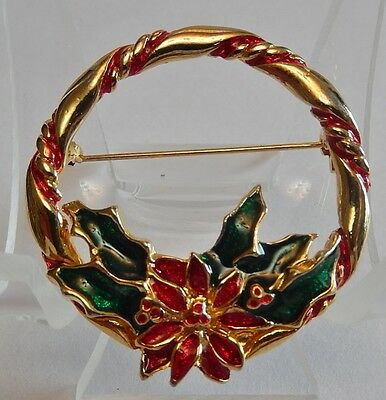 Vintage Red And Green Enameled Gold-Tone Christmas Wreath Brooch