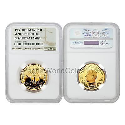 Tunisia 1982 Year of Child 75 Dinars Gold NGC PF68 ULTRA CAMEO