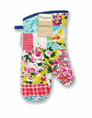Cooksmart Oriental Patchwork Single Oven Gauntlet Glove Mitt Floral Cotton New
