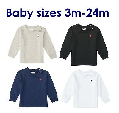 Polo Ralph Lauren Boy Girl Baby Tshirt Top Grey Navy White 3 6 9 12 18 24 Months