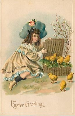 Easter~Victorian Girl With Hinged Lid Wicker Basket Full Of Chicks~Emb~Germany