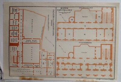 Museo Capitolino Plan, Italy, 1909 Antique Map